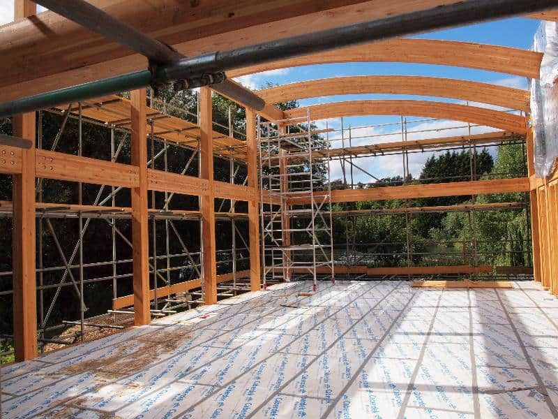 Glulam beam portal frame vision development for Timber frame house construction