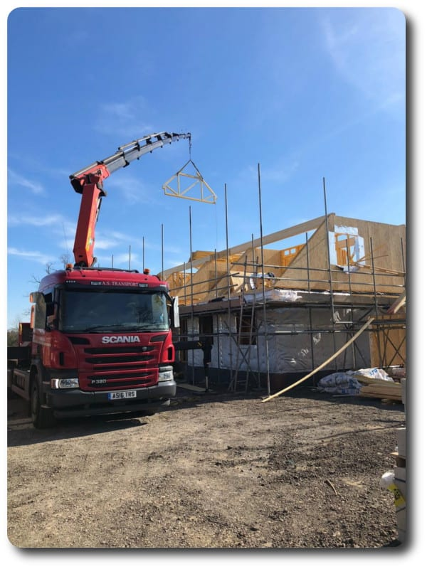 Trusses Being Lifted by Hiab